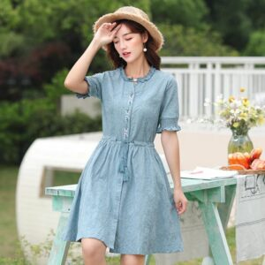 Asymmetrical Flare Sleeve Dress 2