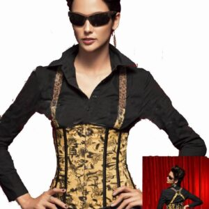 Sexy Boned Corset Black And Yellow Printed Underbust Boned Corset 3S3016 Waist Shaper Corset Slim 1