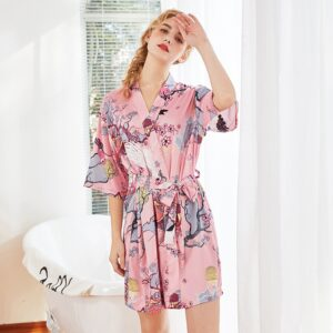 Floral Satin Bathrobe  1