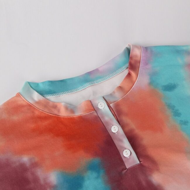 Tie-dye Two-piece Tops and Shorts Loungewear 6