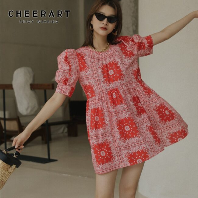Red Puff Sleeve Mini Dress 1