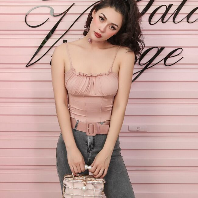 2019 Summer Very Sexy Stretch Knitted Cotton Tank Top Women Spaghetti Straps Ruffles Pleated Short Top 4