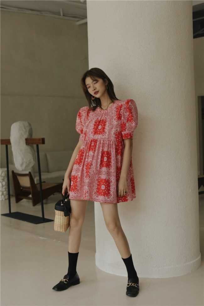 Red Puff Sleeve Mini Dress 6