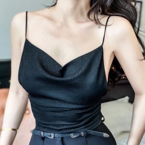2020 New Recommended Slim Sexy Black Gold Leaf Shiny Backless Short Camis High Street Elastic Woman Tops Bling 1