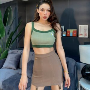 2020 New Super Beautiful Soft Avocado Color Knit Short Tops for Women High Elastic Spaghetti Strap Embroidery Flowers Sexy Camis 1