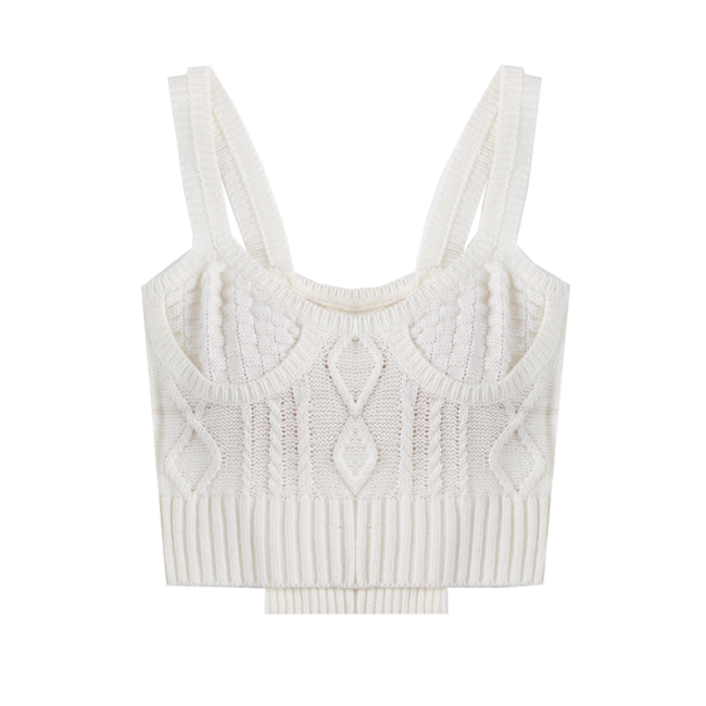 French Vintage Milk White Knitted Vest Top 2