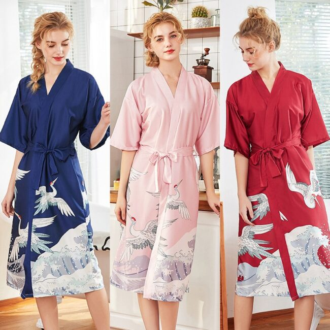 Cartoon Print Silk Robes  2