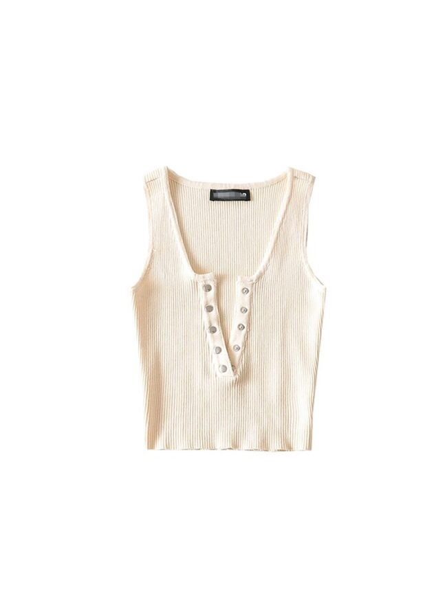 2020 New Practical All Match Ins Style 3 Color Small Buckle Elastic Thread Cotton Short Tanks Sexy Tank Top Women Knitted Casual 2