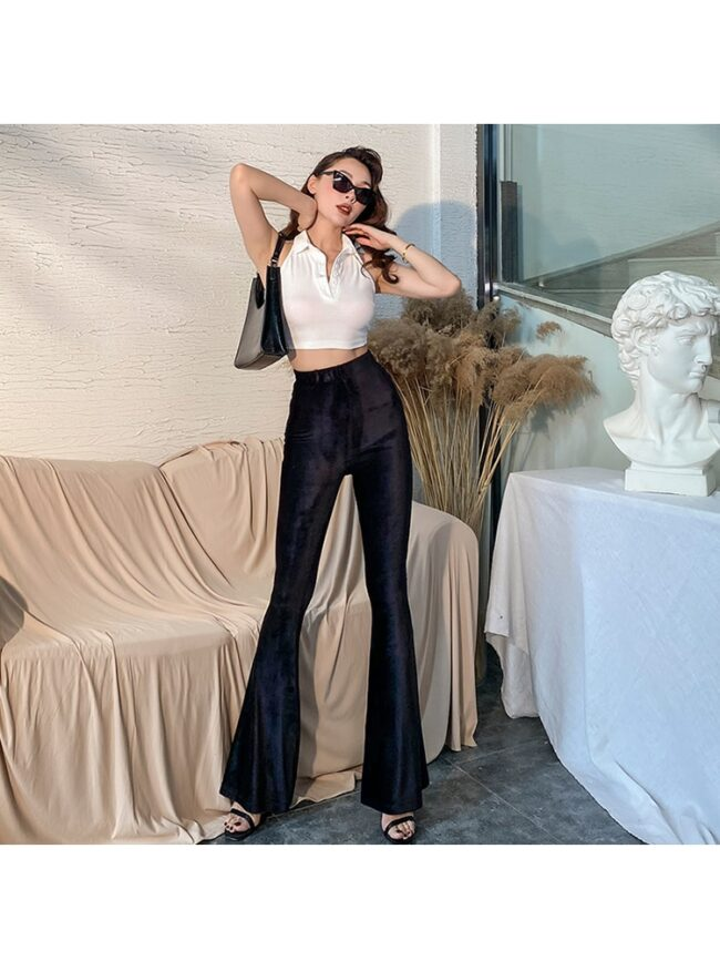 2020 New Fashion Handsome Black White Vest-Style Tank Top Women High Elastic Short Sexy Womens Tops Tight Shirt-collar Backless 4