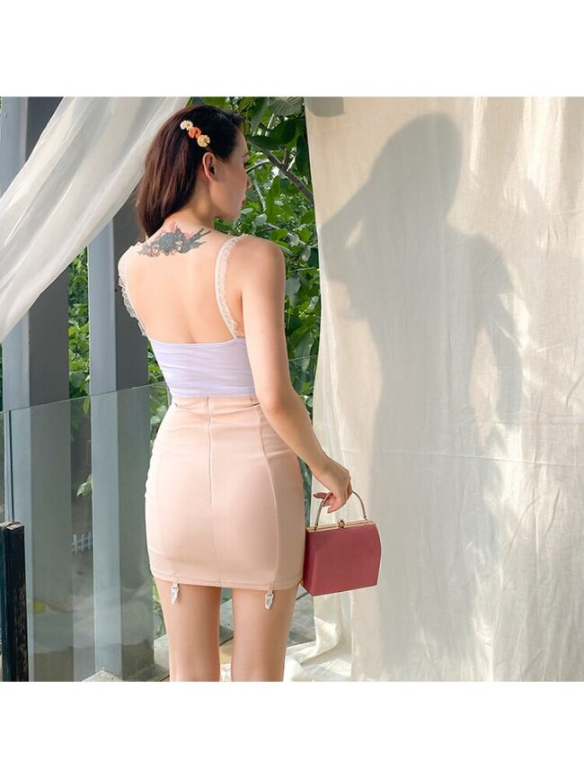 2020 New Cute Lace Spaghetti Straps Corsage Sexy Camis Elastic Cotton Short White Fawn Pattern Crop Top Women All Match 5