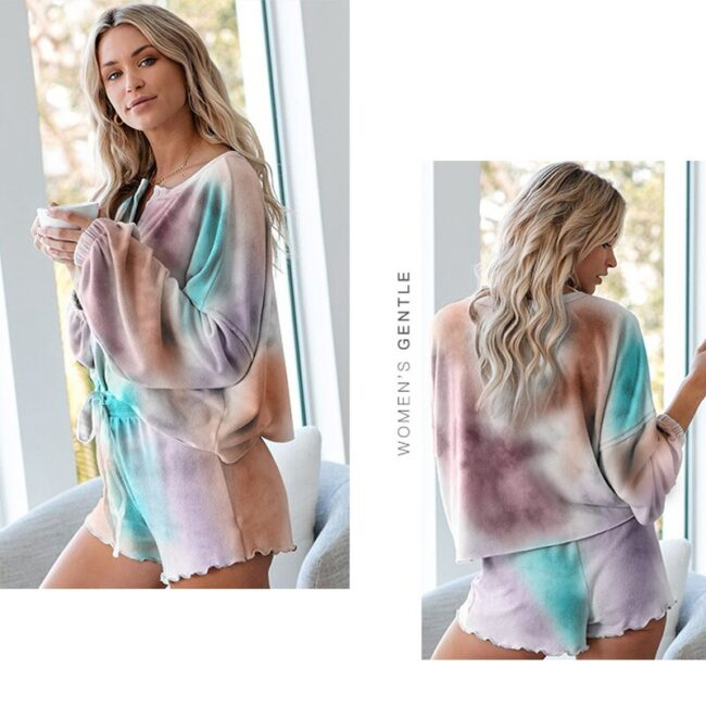 Tie-dye Two-piece Tops and Shorts Loungewear 2