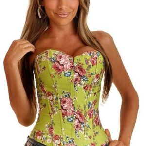 Flowers Printed Green Corset  1