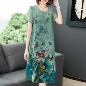 Retro print Slim short-sleeved dress 1