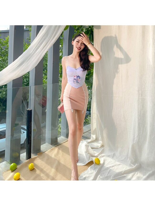 2020 New Cute Lace Spaghetti Straps Corsage Sexy Camis Elastic Cotton Short White Fawn Pattern Crop Top Women All Match 4