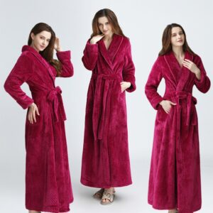 Dobby Coral Fleece Bathrobe 1