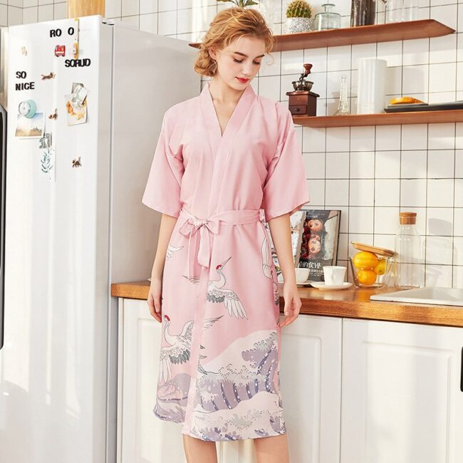 Cartoon Print Silk Robes  3