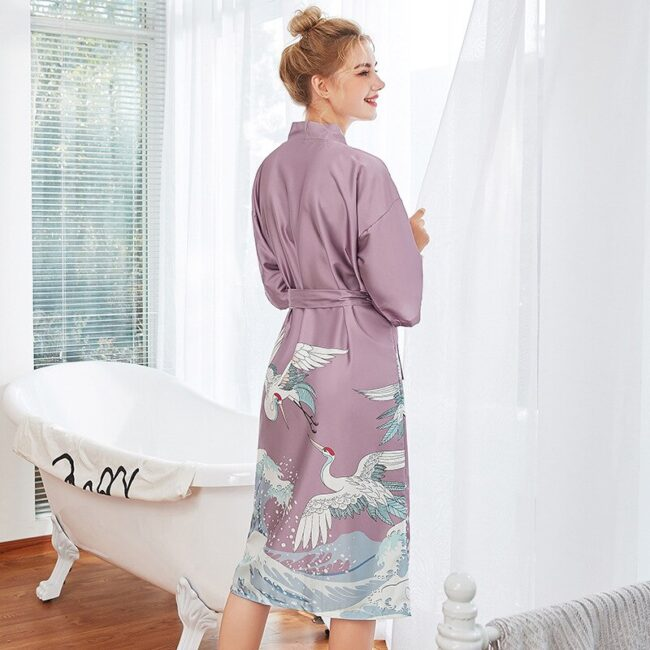 Cartoon Print Silk Robes  6