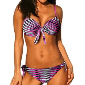 Pink stripe Crocheted Bikini 1