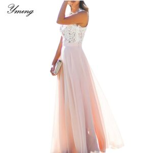 YMING Maxi Summer Dress Lace Stitching Chiffon Dresses Ladies Wedding Robe Elegant For Women Vestidos 1