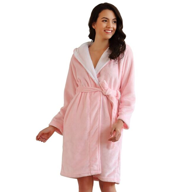 Long Sleeve Flannel Robe  2