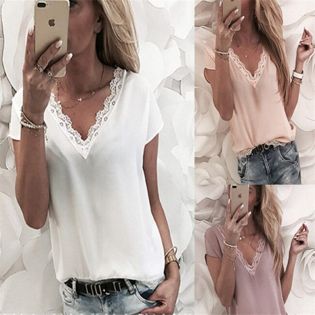 Loose Short Sleeve Solid Lace V-neck Top 3
