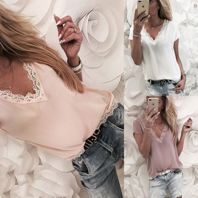 Loose Short Sleeve Solid Lace V-neck Top 4