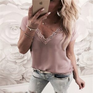 Loose Short Sleeve Solid Lace V-neck Top 1