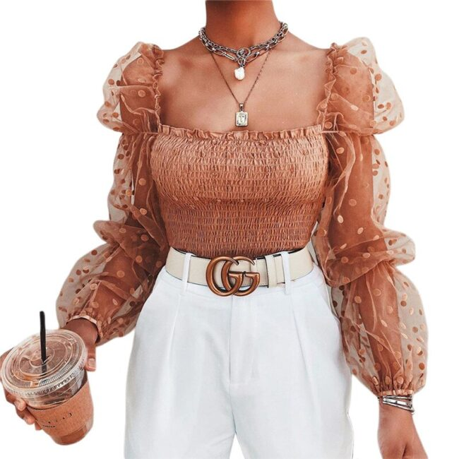 Puff Sleeve Backless Blouse  3