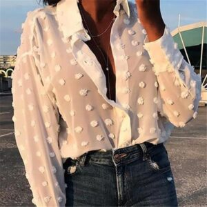 Womens Tops Blouses Elegant Long Sleeve See-through Sheer Mesh Polka Dot Loose OL Shirt Ladies Chiffon Blouse Summer blusa 1