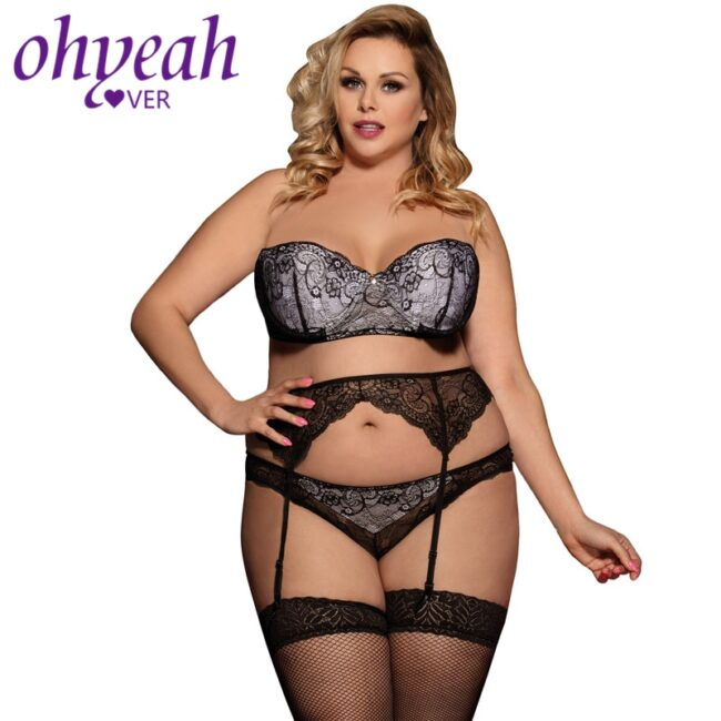 3 piece Lace Lingerie - Plus Size  1
