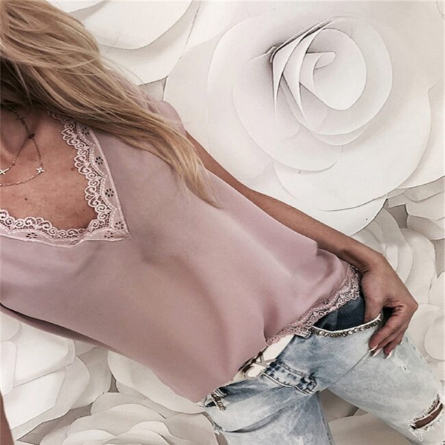 Loose Short Sleeve Solid Lace V-neck Top 2