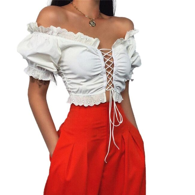 Off Shoulder Lace-up hollow out Top 5