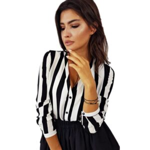 2019 New Sexy Women Blouse Fashion Striped Top Shirts Chiffon Blouses Female Long Sleeve Button V Neck Shirt feminina blusa 1