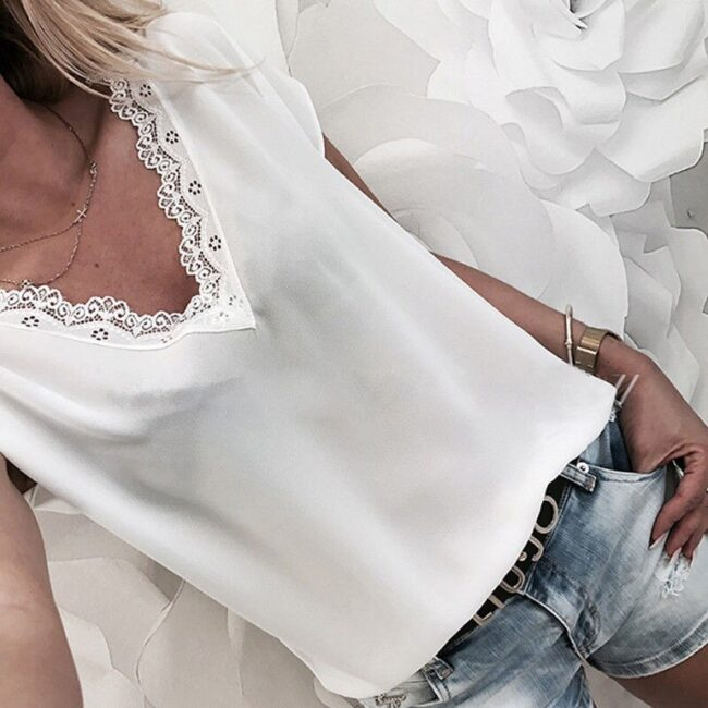 Loose Short Sleeve Solid Lace V-neck Top 6