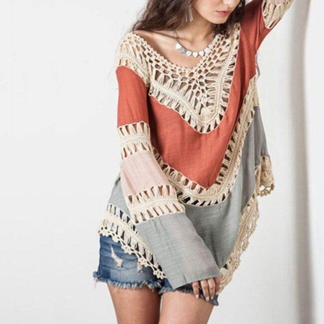 2018 Fashion Women's Lace Crochet Loose Tops Long Sleeve V-Neck Shirt Casual Hollow Out Knitwear 1