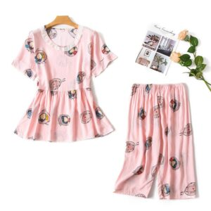 Striped Short Sleeve Pajama Set 1