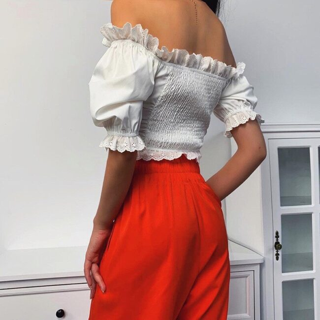 Off Shoulder Lace-up hollow out Top 3
