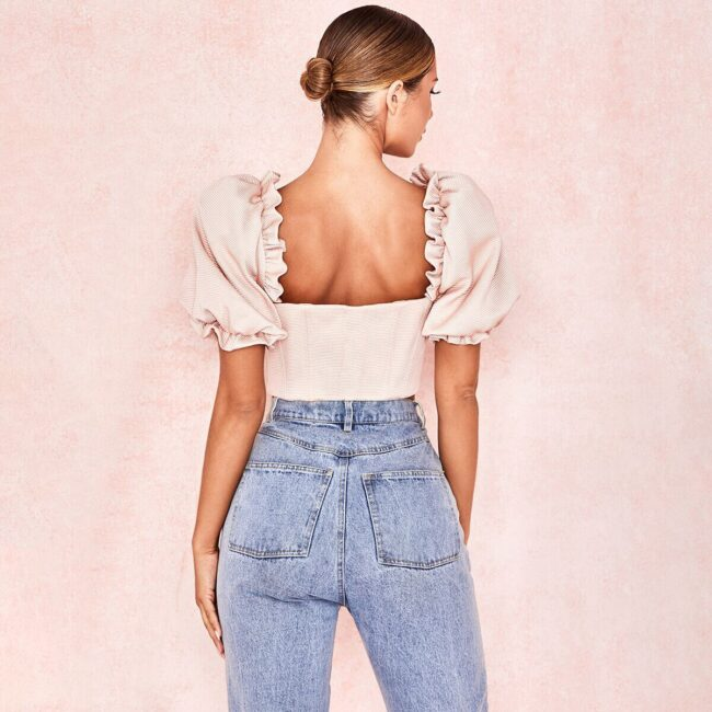 Womens Sexy Off Shoulder Solid Blouses Tops Ladies Ruffled Crop Top Shirt Tube Top Summer Casual Fashion Women Short Sleeve Tops 3