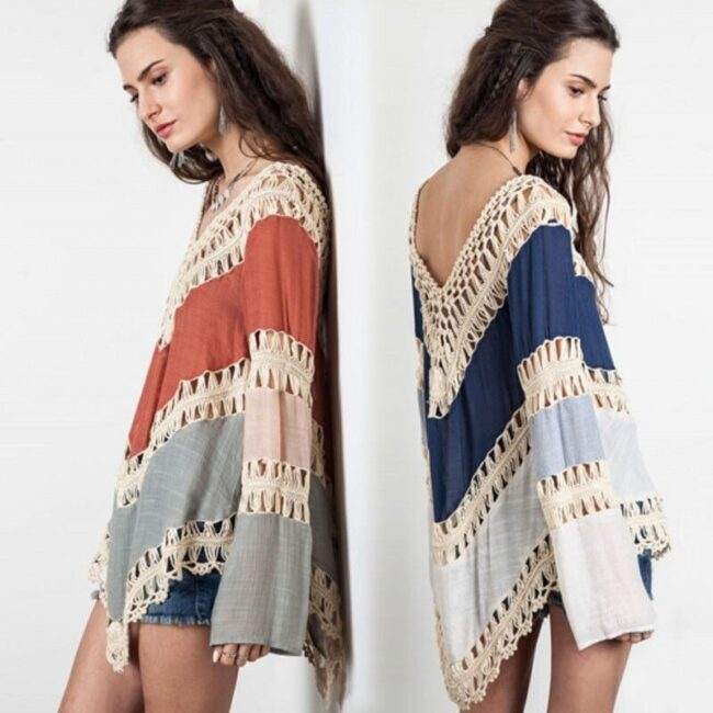 2018 Fashion Women's Lace Crochet Loose Tops Long Sleeve V-Neck Shirt Casual Hollow Out Knitwear 4