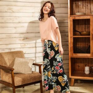 Floral Printed Silk Pajama Set 1