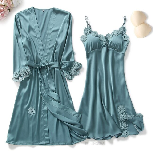 5 Pieces Satin Sleepwear 3