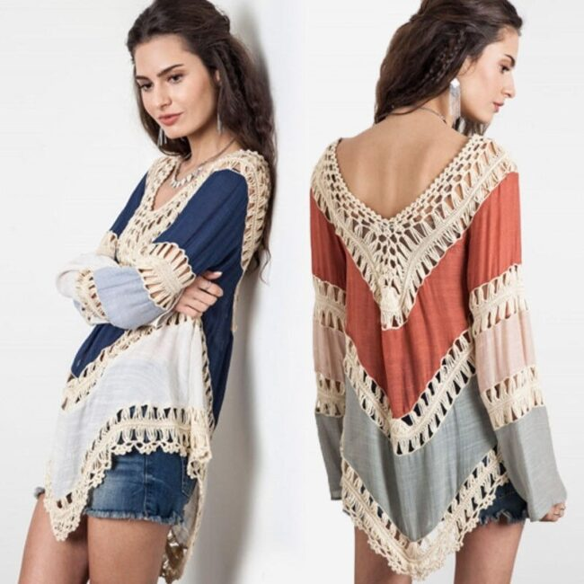 2018 Fashion Women's Lace Crochet Loose Tops Long Sleeve V-Neck Shirt Casual Hollow Out Knitwear 5