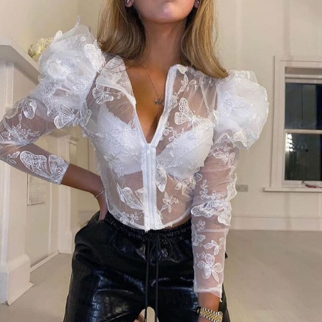 Butterfly Embroidered Mesh Blouse  3