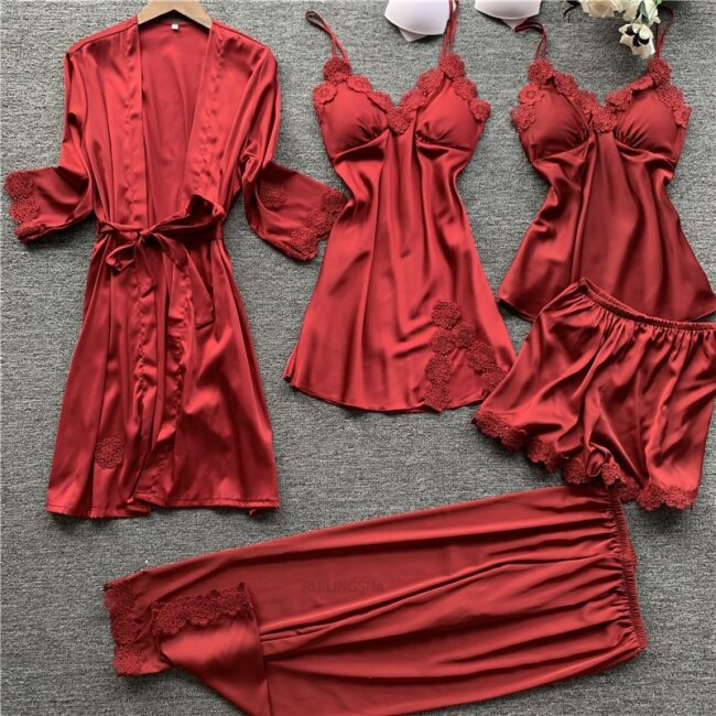 5 Pieces Satin Sleepwear 1