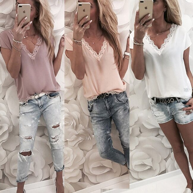 Loose Short Sleeve Solid Lace V-neck Top 5